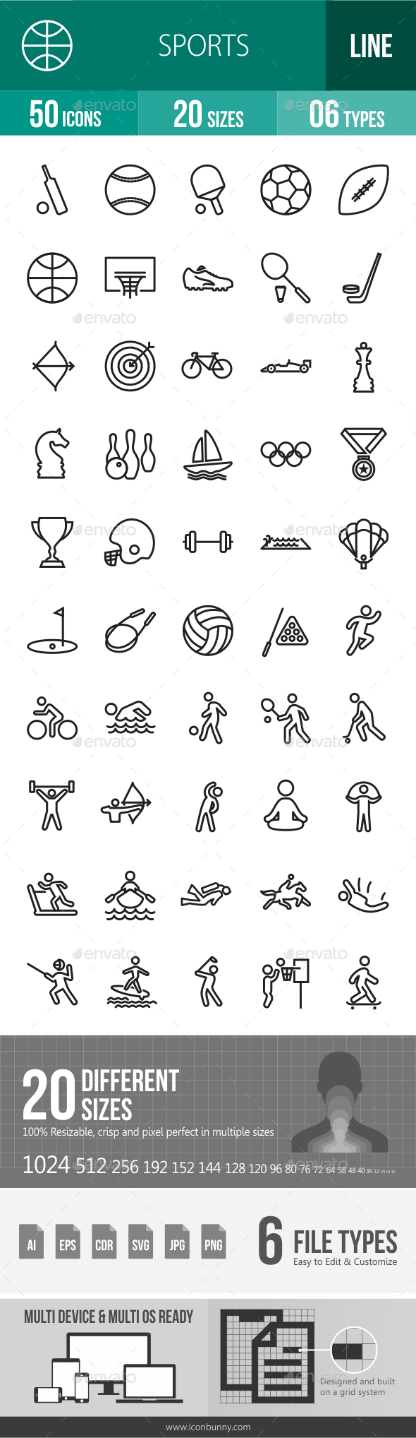 Sports Line Icons - Icons