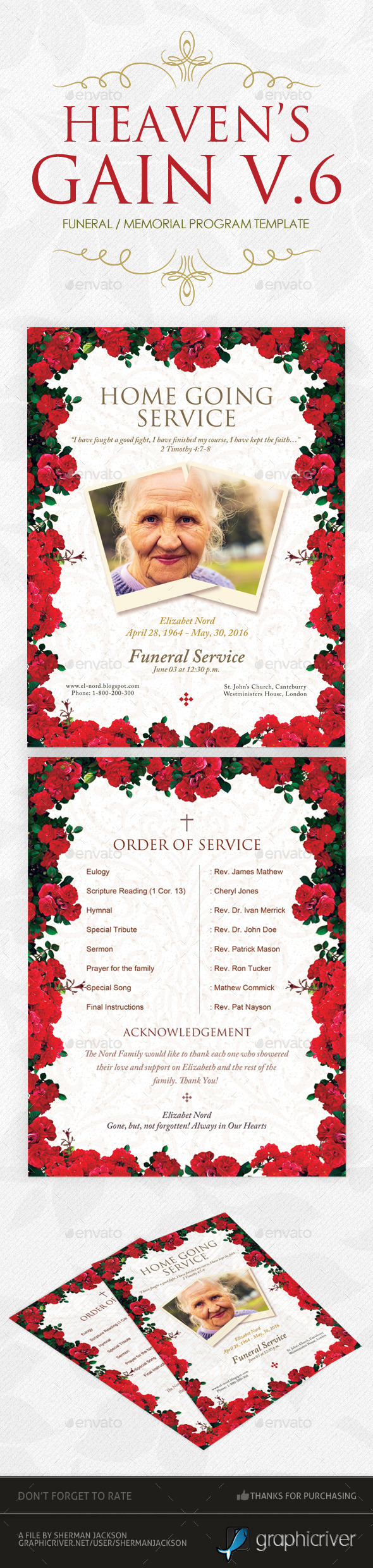 Heaven's Gain - Funeral / Memorial Program V.6 - Miscellaneous Print Templates