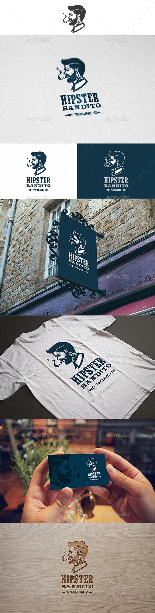 Hipster Bandito Logo - Humans Logo Templates