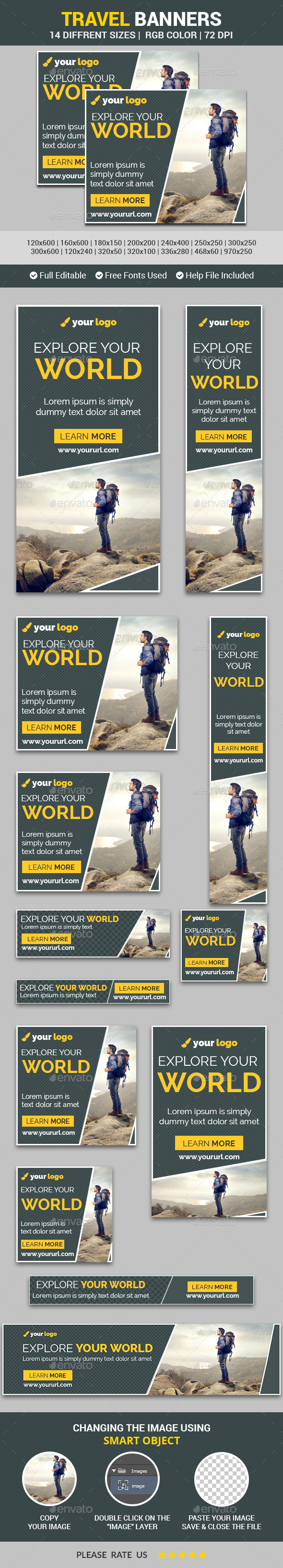 Travel Banners v10 - Banners & Ads Web Elements