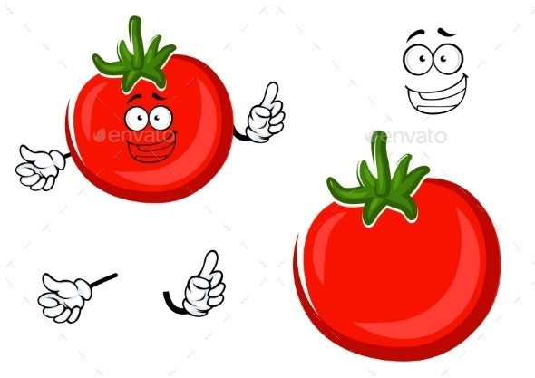Red Ripe Tomato Vegetable Character - Food Objects