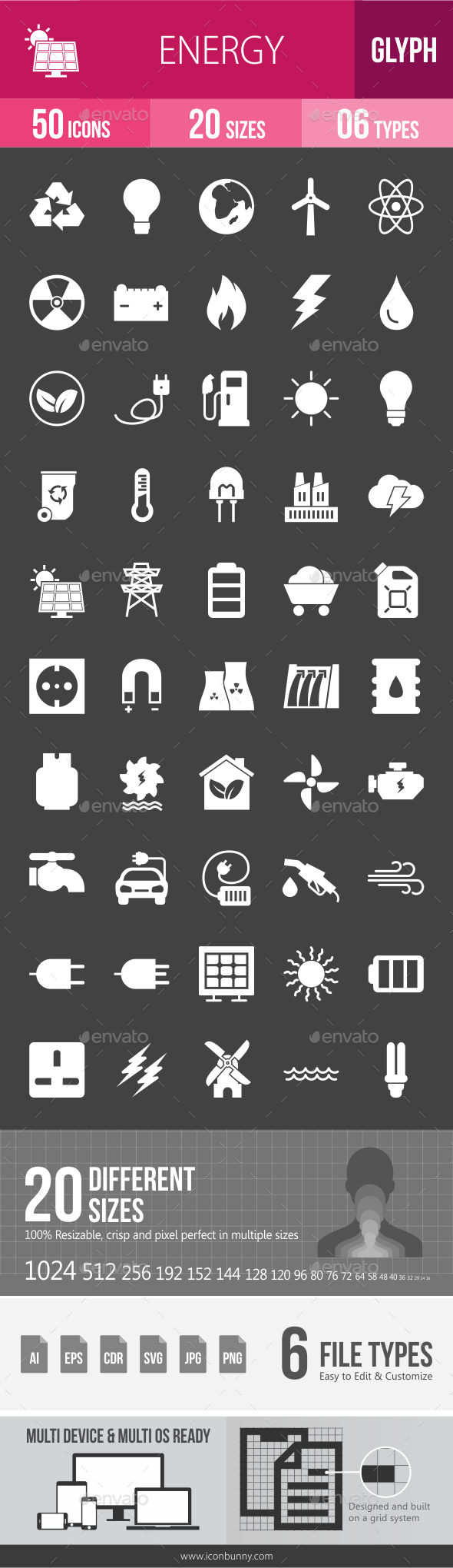Energy Glyph Inverted Icons - Icons