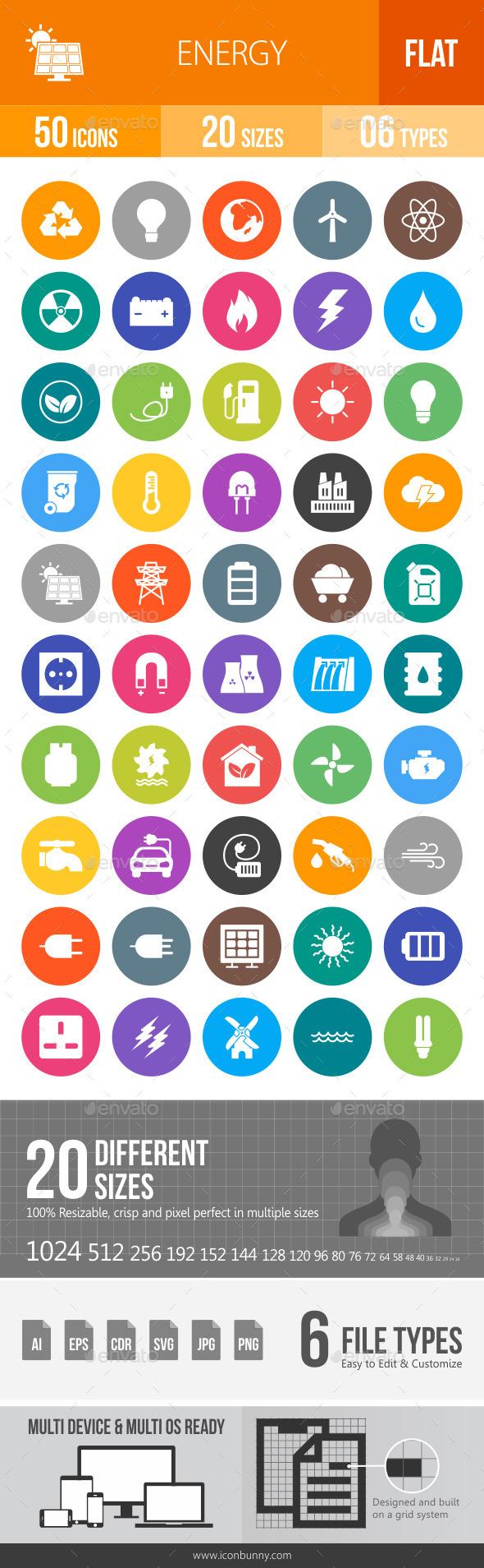 Energy Flat Round Icons - Icons