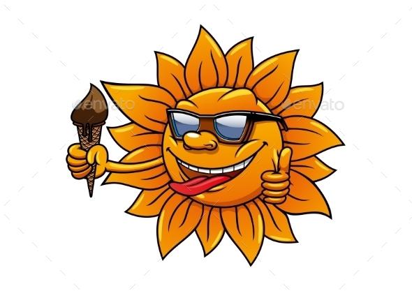 Cartoon Hot Sun With Chocolate Ice Cream - Conceptual Vectors