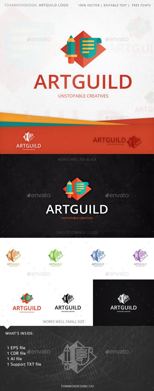 Artguild Pencil Shield Logo Template - Objects Logo Templates