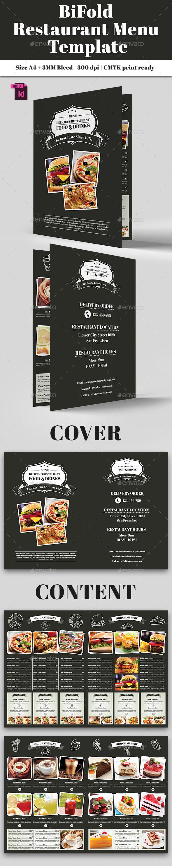 BiFold Restaurant Menu Vol. 8 - Food Menus Print Templates