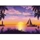 Tropical Sea Landscape With Palm And Ship - GraphicRiver Item for Sale