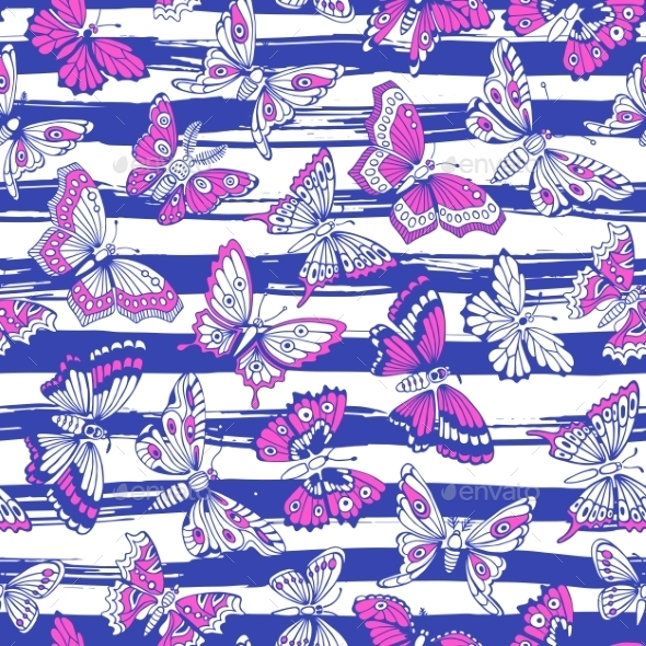 Seamless Pattern With Decorative Butterflies