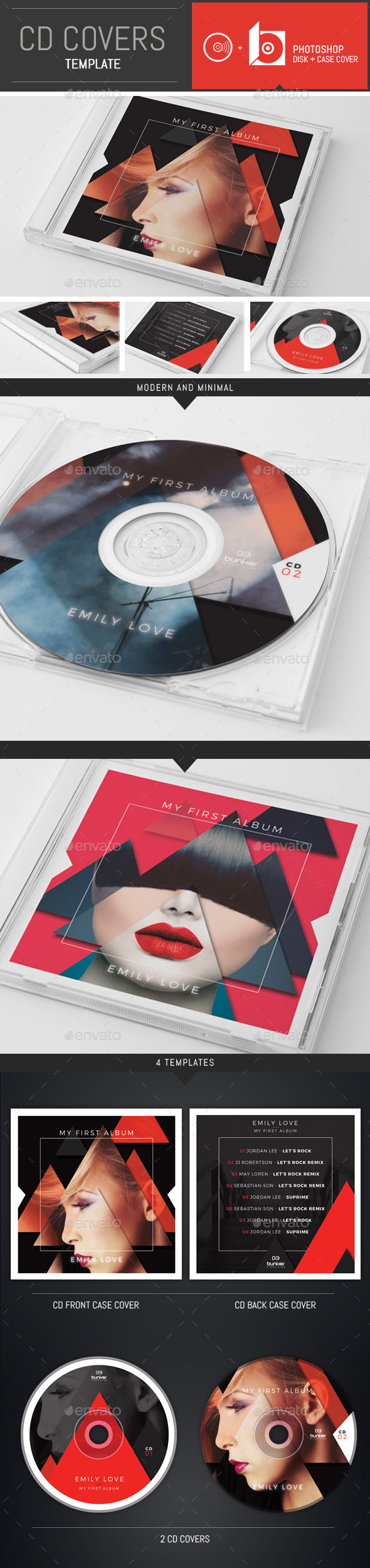 DJ Music Triangle CD Cover Template - CD & DVD Artwork Print Templates