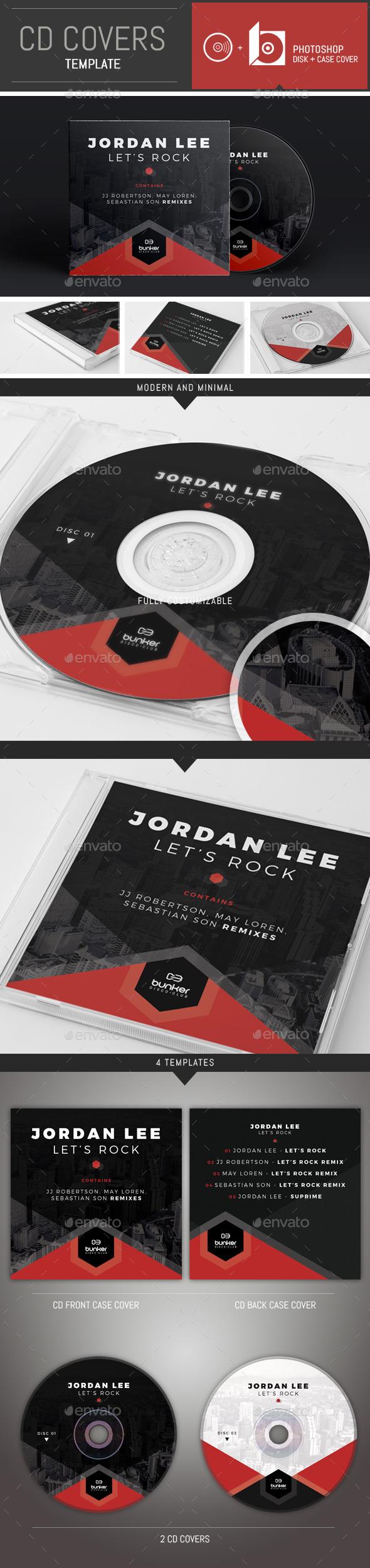 DJ Music Hexagon CD Cover Template - CD & DVD Artwork Print Templates