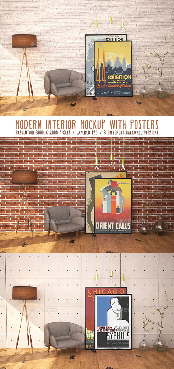 Modern Interior Mockup With Posters - Posters Print