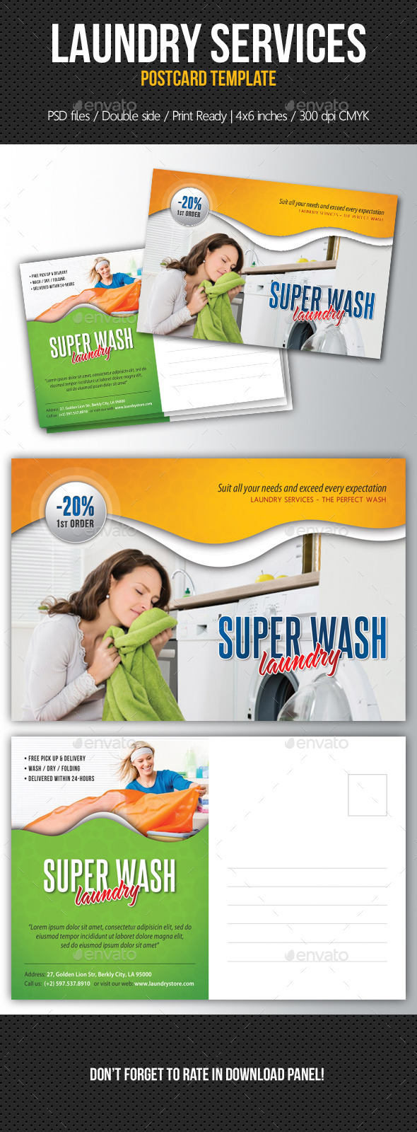 Laundry Services Postcard Template - Cards & Invites Print Templates