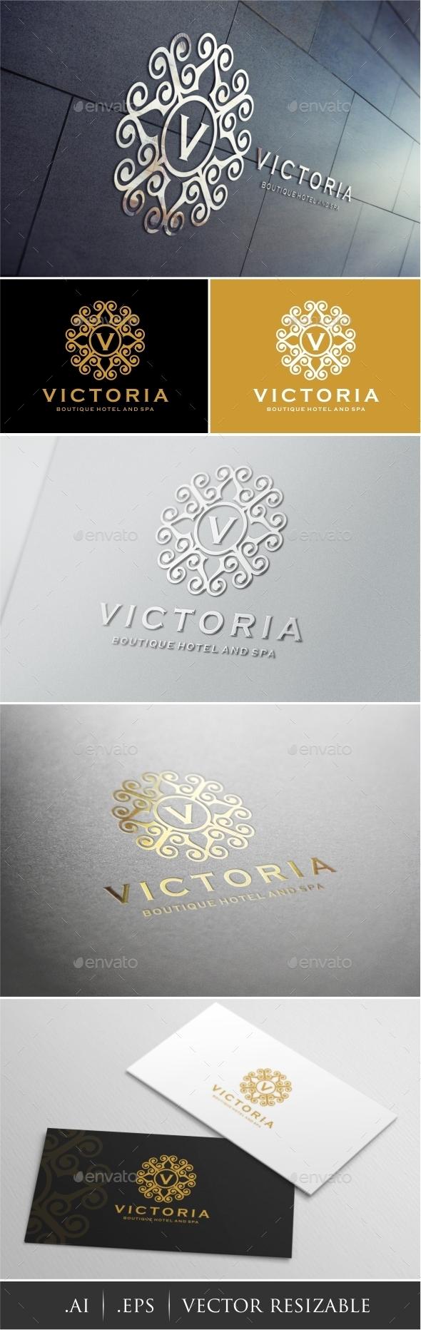 Victoria - Boutique Hotel Spa Logo - Crests Logo Templates