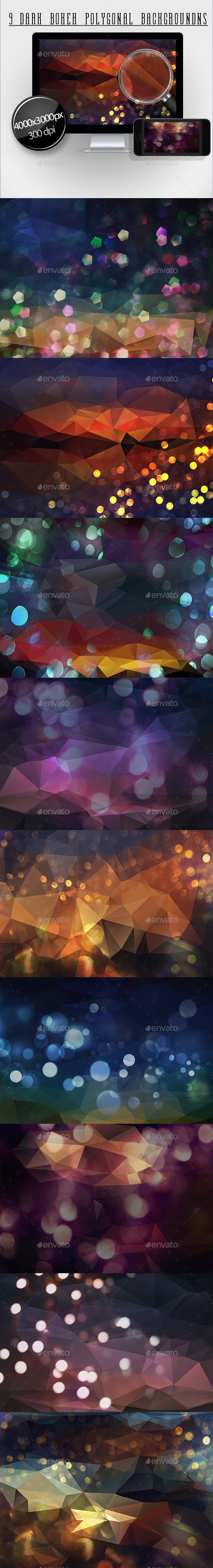 9 Dark Bokeh Polygonal Backgrounds - Abstract Backgrounds