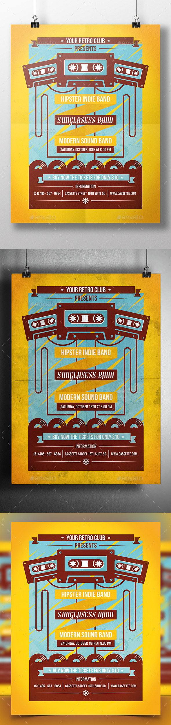 Cassette Night Poster Flyer - Concerts Events