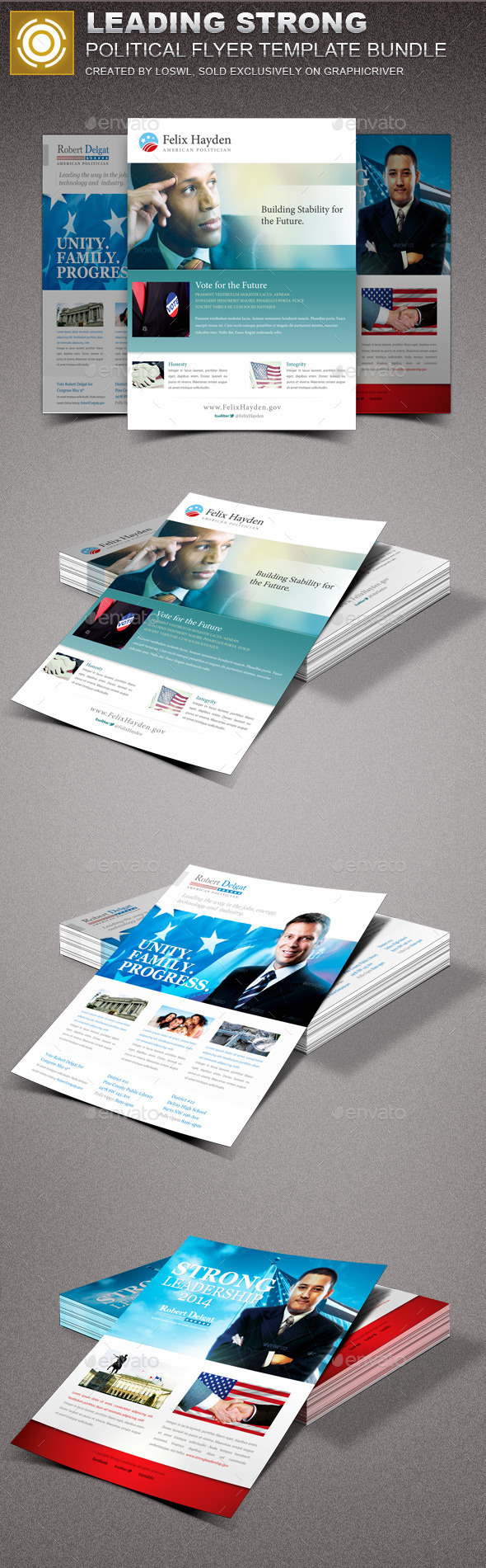Leading Strong Political Flyer Template Bundle - Events Flyers
