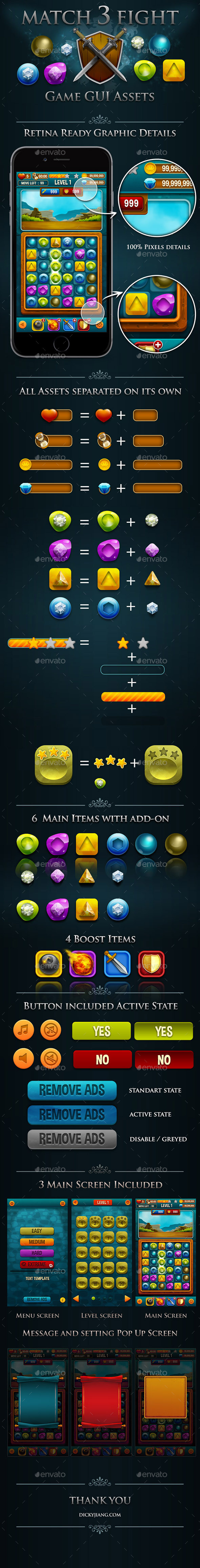 Match 3 Fight Puzzle Game  Kits and GUI Assets - Game Kits Game Assets