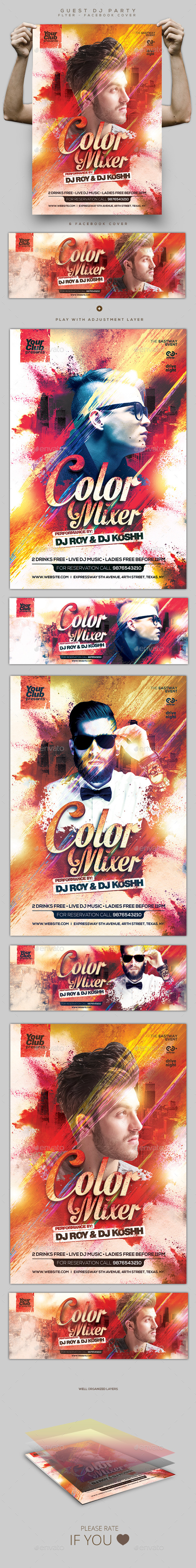 Color Mixer Guest DJ Flyer / Facebook Cover - Clubs & Parties Events
