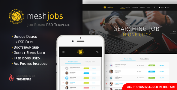 meshjobs - Job Board PSD Template - PSD Templates