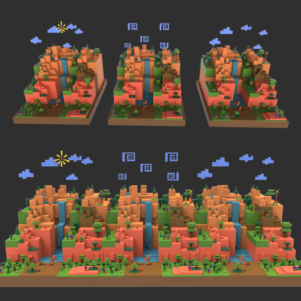 Game Cubee World Environment and Character - 3DOcean Item for Sale