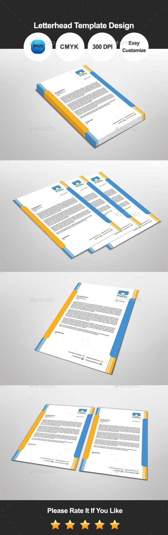 Patla Letterhead Template Design - Proposals & Invoices Stationery