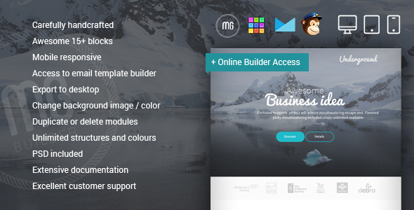 Underground - Responsive Email + MG Builder - Email Templates Marketing