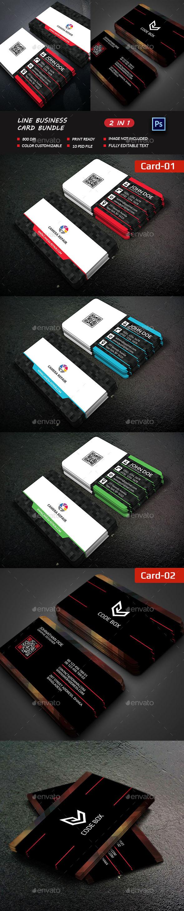 Line Business Card Bundle - Business Cards Print Templates