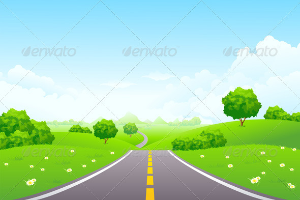 Landscape - Green Hill with Road and Mountains - Landscapes Nature
