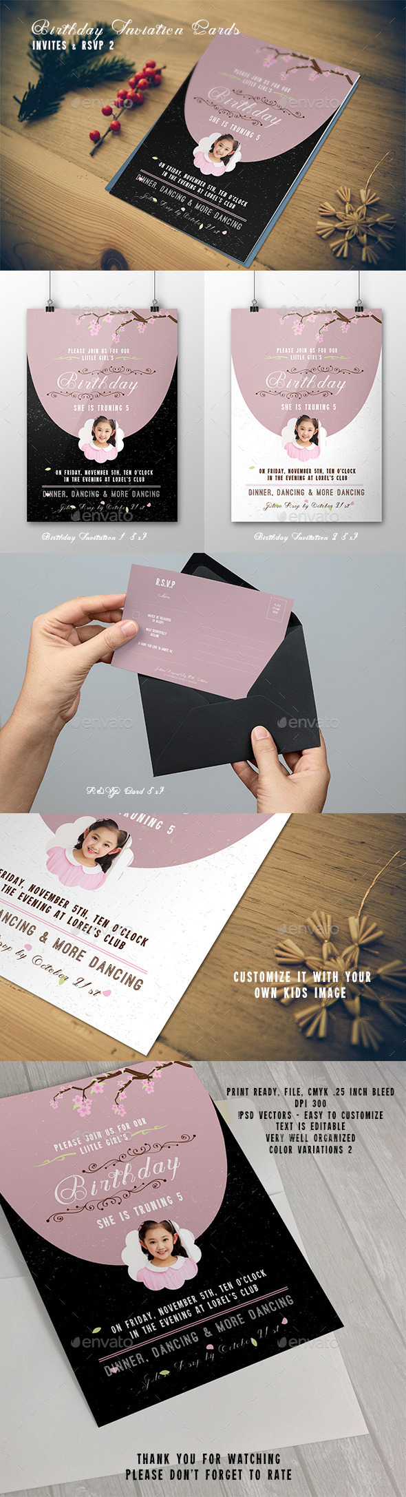 Birthday Invitation & RSVP Cards - Cards & Invites Print Templates