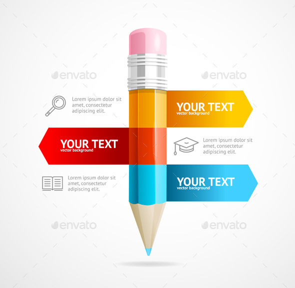 Pencil Infographic Education Concept - Concepts Business