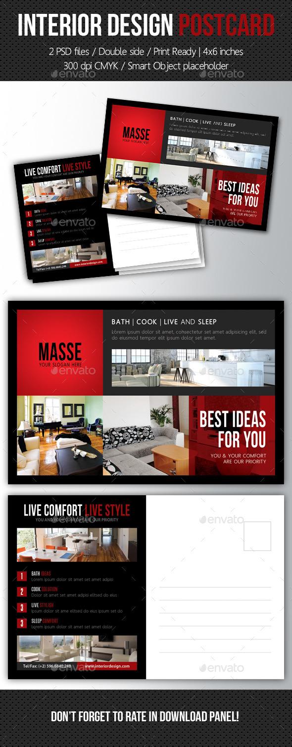 Interior Design Postcard Template V06 - Cards & Invites Print Templates