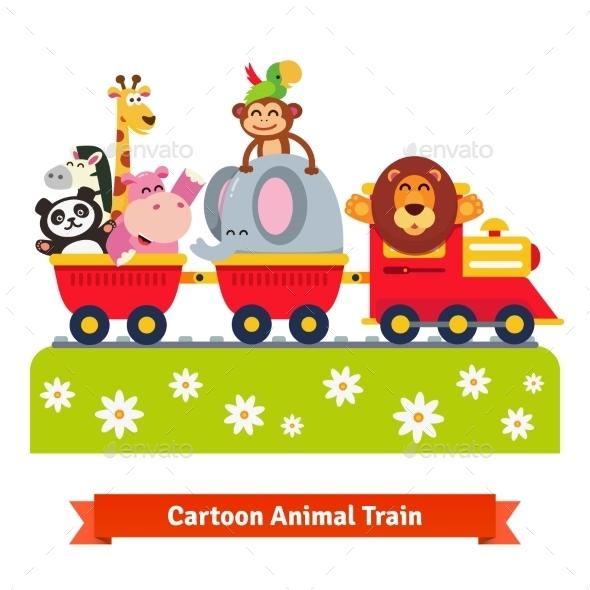 Cartoon Happy Animal Train - Animals Characters