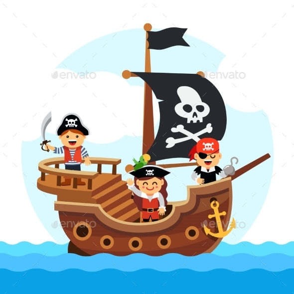 Cartoon Kids Pirate Ship Sailing Sea - People Characters