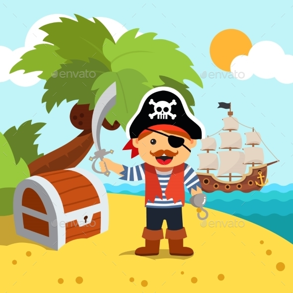 Pirate Captain on Island Shore with Treasure Chest - Backgrounds Decorative