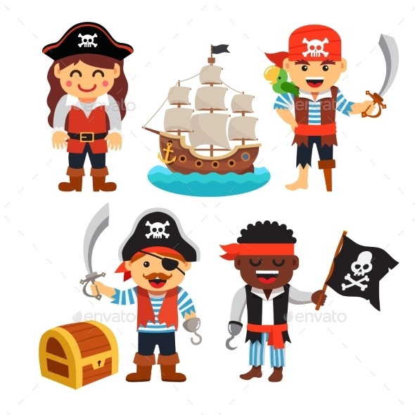 Pirate Kids Set - People Characters