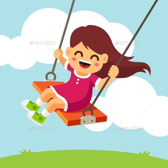 Smiling Girl Swinging on a Swing - People Characters