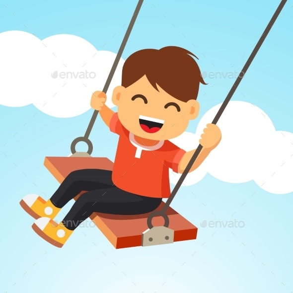 Smiling Boy Swinging on a Swing - People Characters