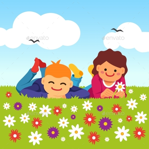 Happy Kids Laying on Meadow Field Grass - People Characters