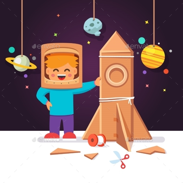 Kid Making Cardboard Box Rocket - Travel Conceptual