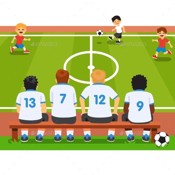 Children Soccer Team Sitting on a Bench - Sports/Activity Conceptual