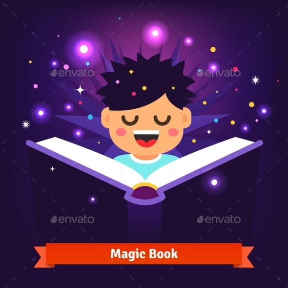 Boy Kid Reading Magic Spell Book as it Glows - Miscellaneous Conceptual