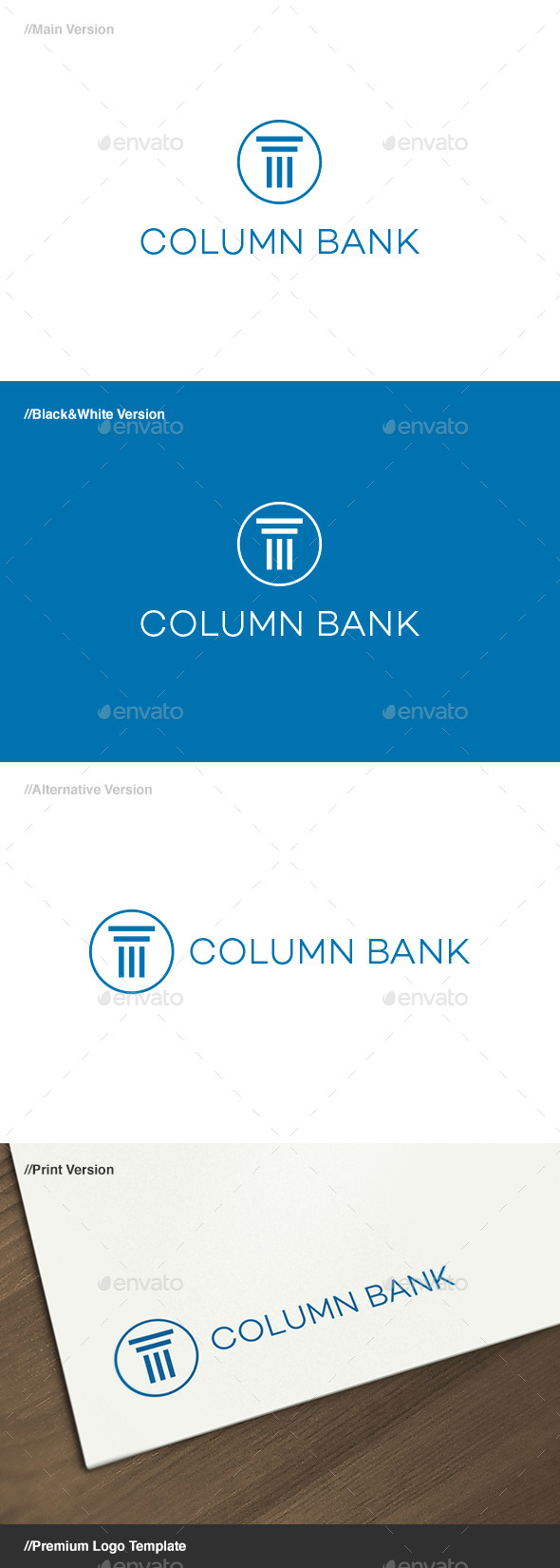 Column Bank Logo - Buildings Logo Templates