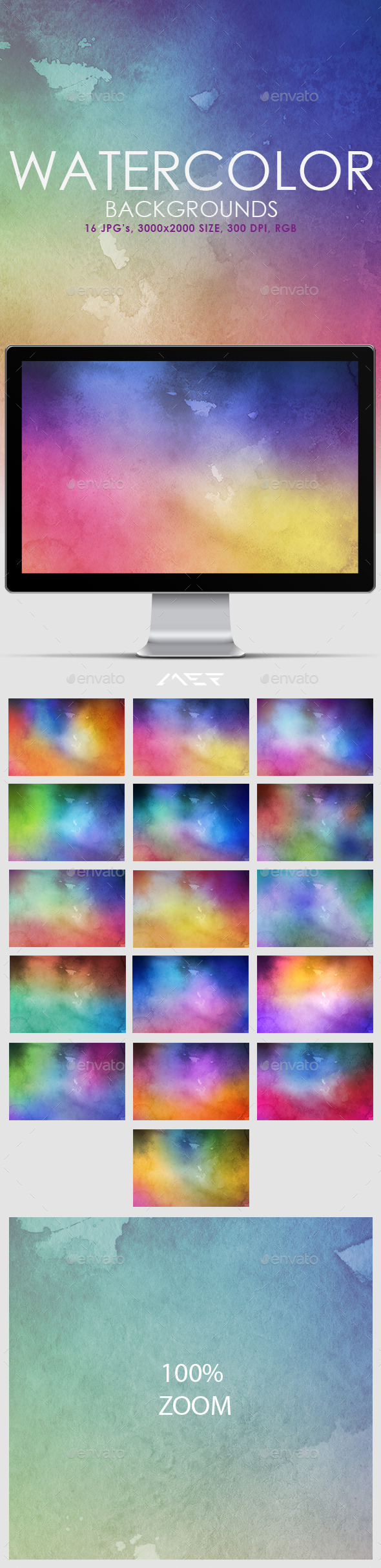16 Watercolor Backgrounds - Backgrounds Graphics