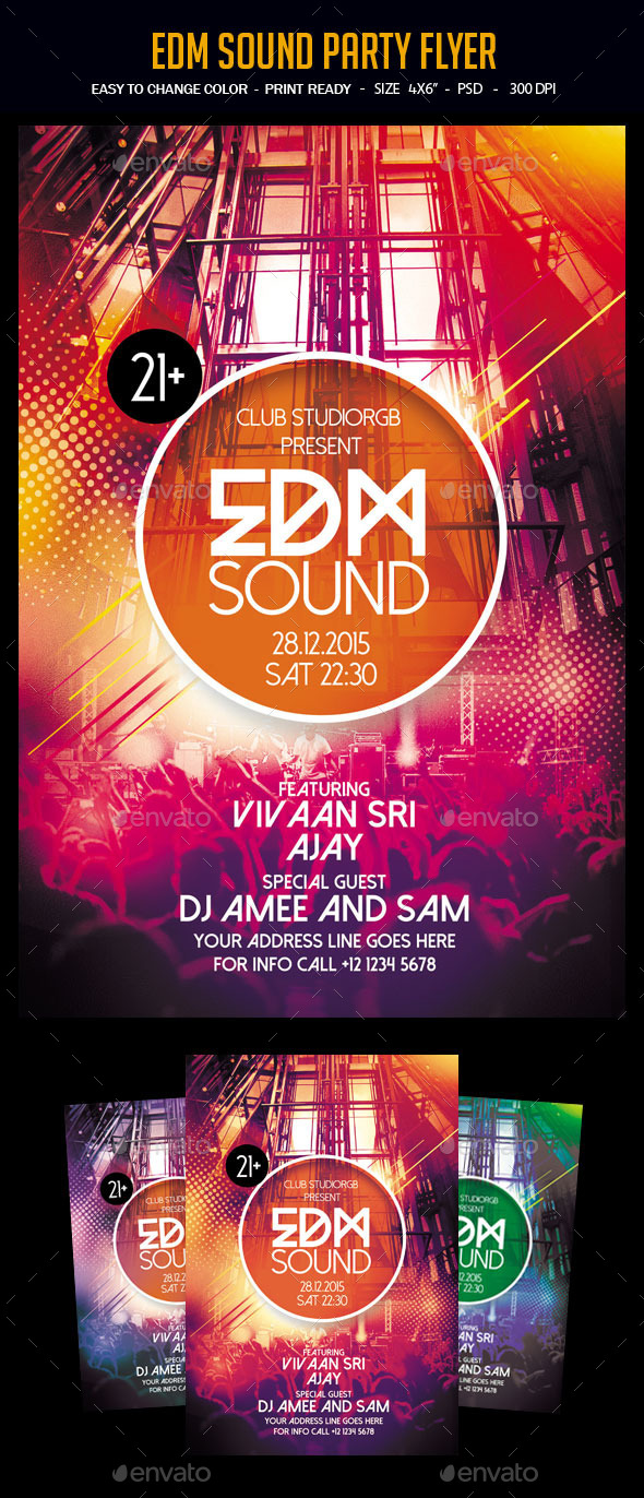 EDM Sound Party Flyer - Clubs & Parties Events