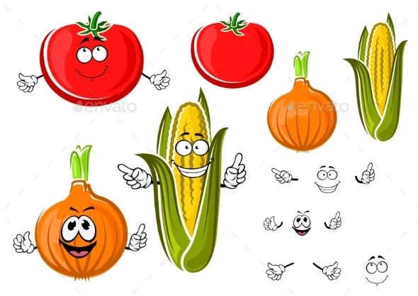 Happy Cartoon Onion, Tomato And Corn - Food Objects