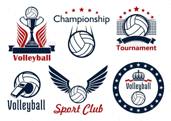 Volleyball Tournament And Club Emblems