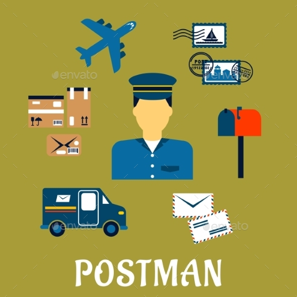 Flat Postal Icons Around a Postman - Services Commercial / Shopping