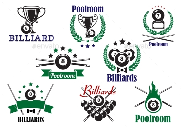 Billiard Game Or Poolroom Icons And Symbols - Sports/Activity Conceptual