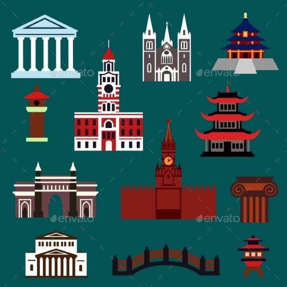 Famous World Landmarks Flat Icons - Travel Conceptual