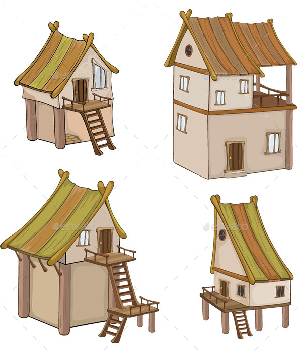 Set of Vector Houses for Design - Buildings Objects